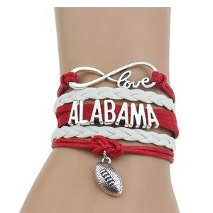 ALABAMA Infinity Silver Charm Leather Bracelet